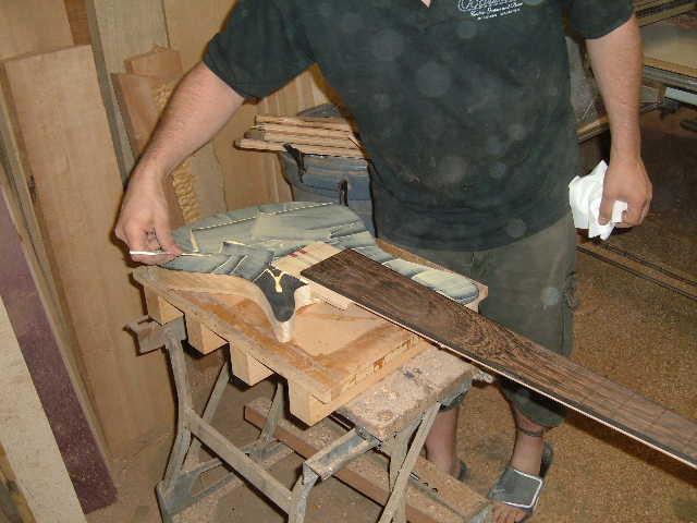 Korina body and flamed redwood top glue-up